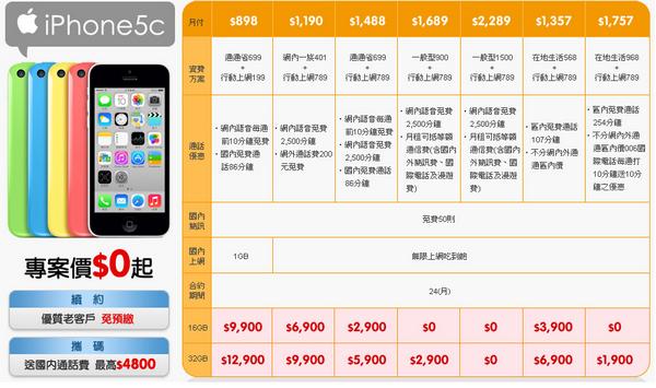 iphone 5s/5c三大電信資費方案登場