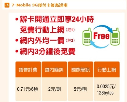 最便宜行動上網吃到飽 7-mobile預付卡