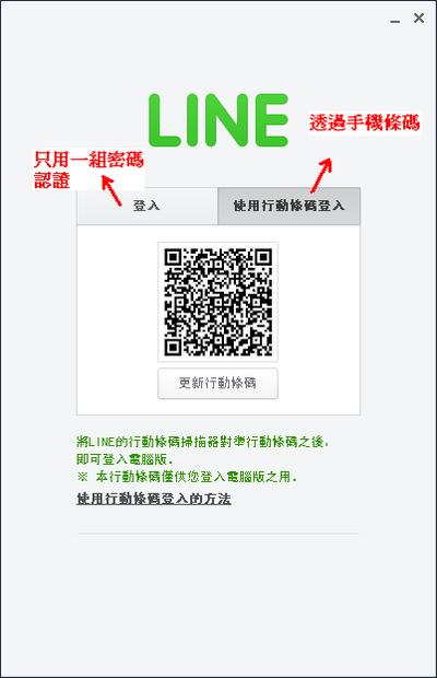 Line 電腦版 行動條碼登入