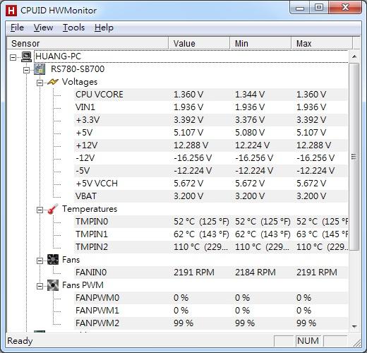 hwmonitor 免安裝 監測電腦電壓溫度