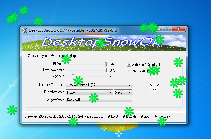 桌面特效軟體 DesktopSnowOK01
