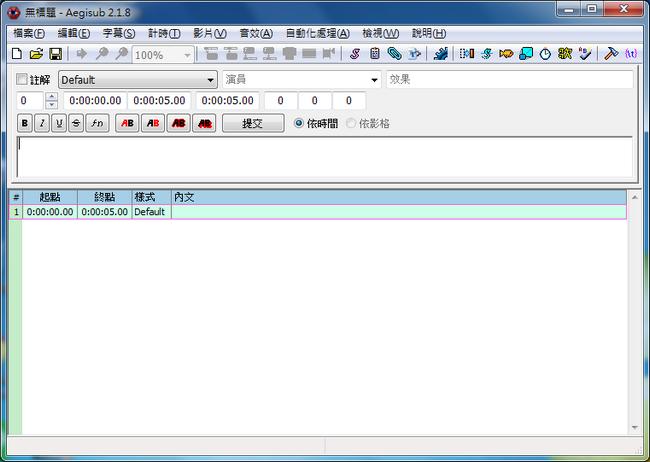 免費字幕編輯軟體 Aegisub01