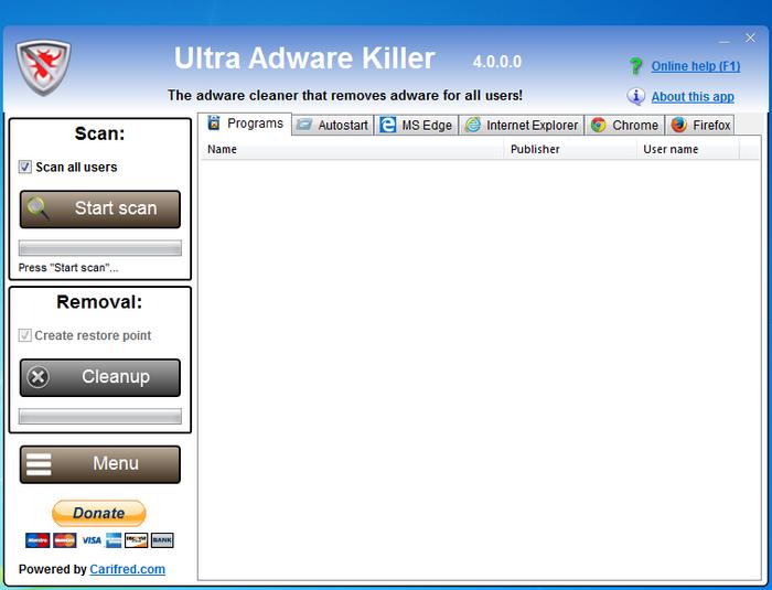 首頁綁架解除 Ultra Adware Killer01