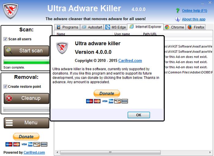 首頁綁架解除 Ultra Adware Killer02