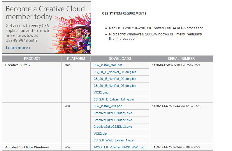 Adobe CS2 非免費下載