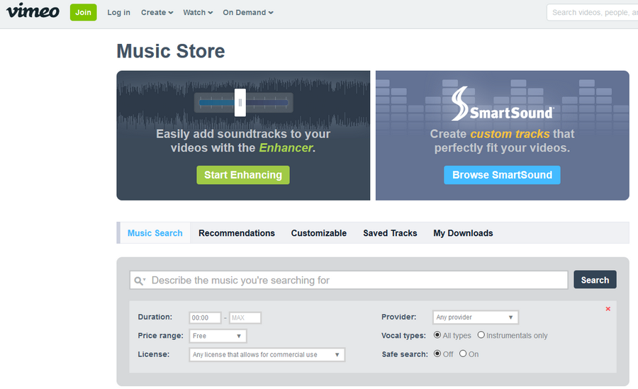 免費音樂配樂素材下載 Vimeo Music Store01