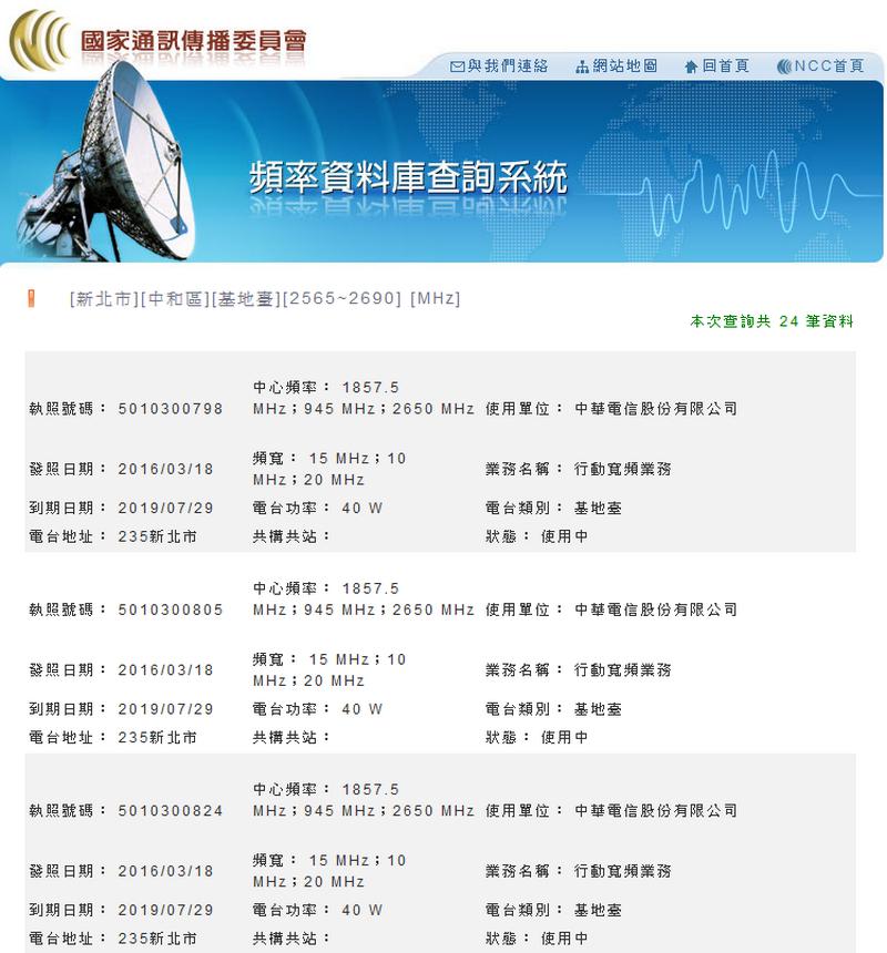 頻率資料庫查詢系統 查詢住家 2600Mhz基地台03