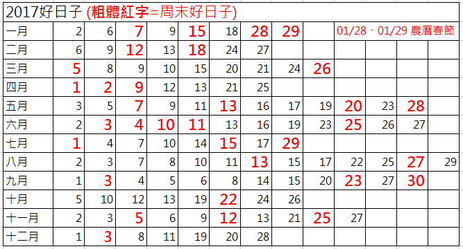2017年結婚好日子01
