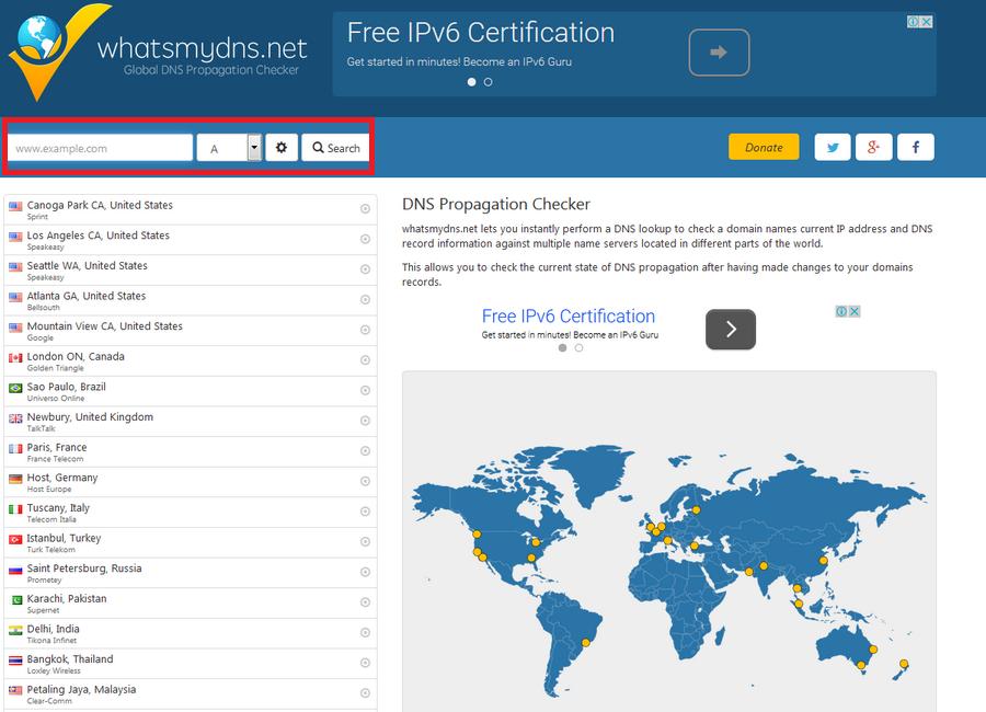 查看自己網站DNS更新 What's My DNS01