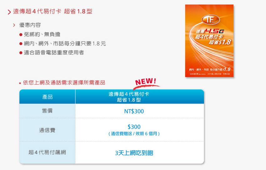 通話行預付卡比較 台灣之星、台哥大、遠傳01