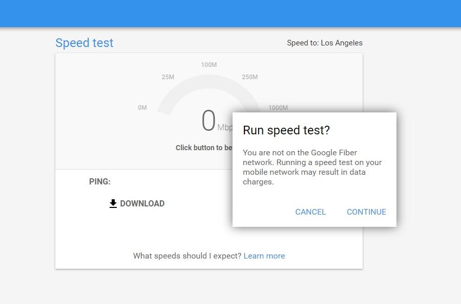 網路測速服務 Google fiber 測試固網/4G速度