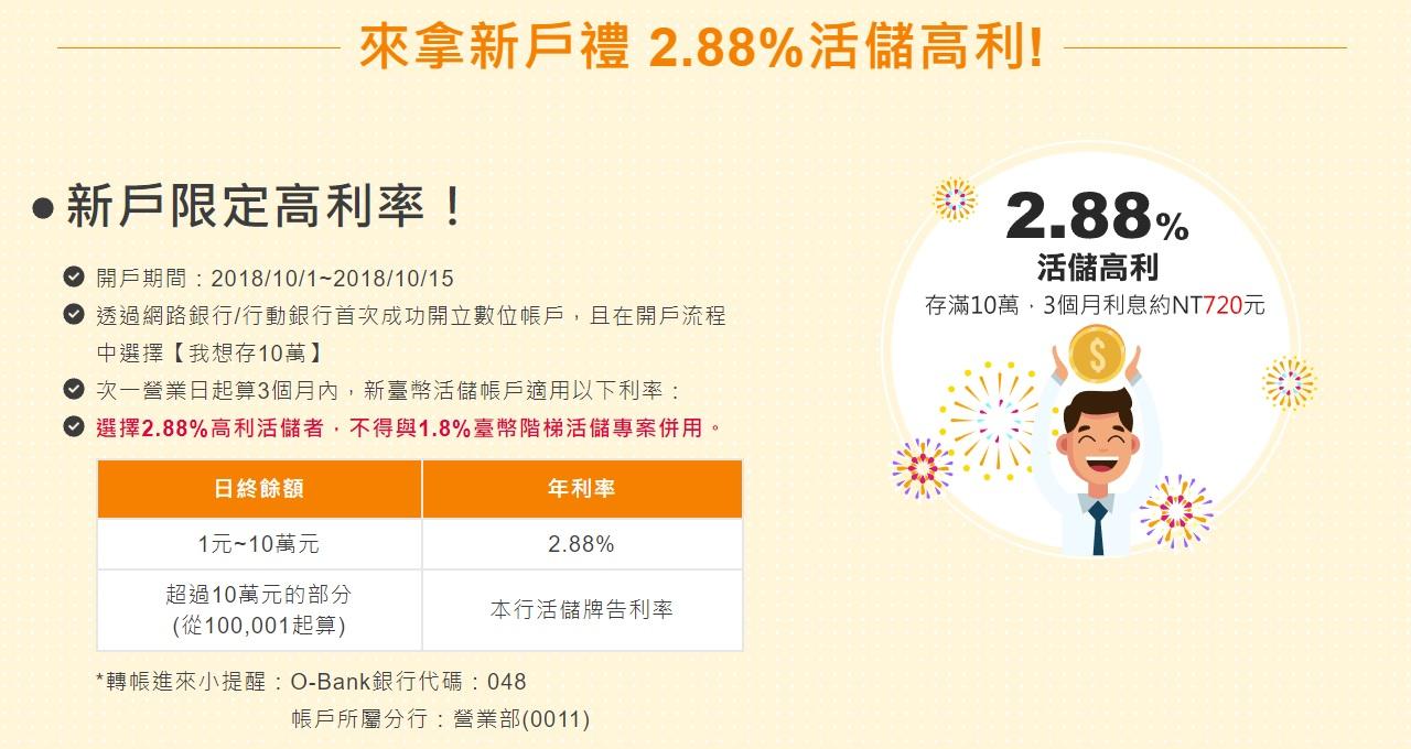 數位銀行推薦 王道銀行活儲2.88% 3個月期間內可享720元的利息